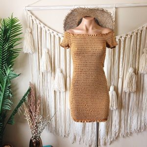 Bozollo Smocked Off Shoulder dress in Honey